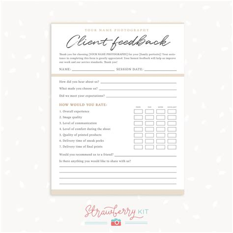 client feedback form template  photographers survey