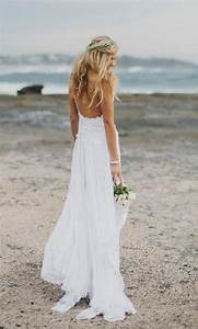 stunning low back white lace wedding dress dreamy floaty With white beach wedding dresses