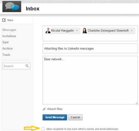 attaching files to linkedin messages digital works