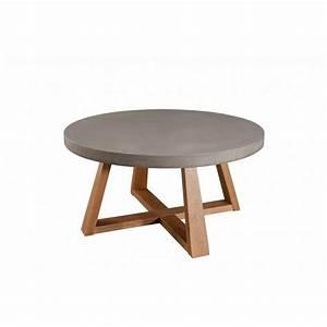 Table Basse En Beton : table basse ronde ch ne et b ton d91 ferrrer ~ Teatrodelosmanantiales.com Idées de Décoration