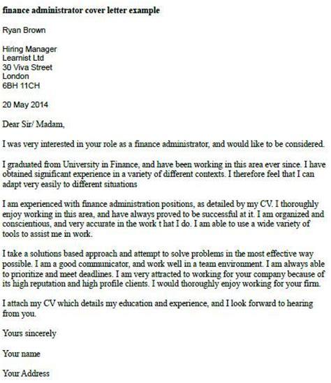 finance administrator cover letter  job