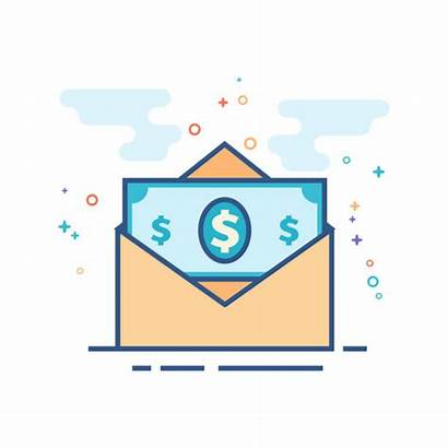 Envelope Money Vector Flat Icon Clip Outlined