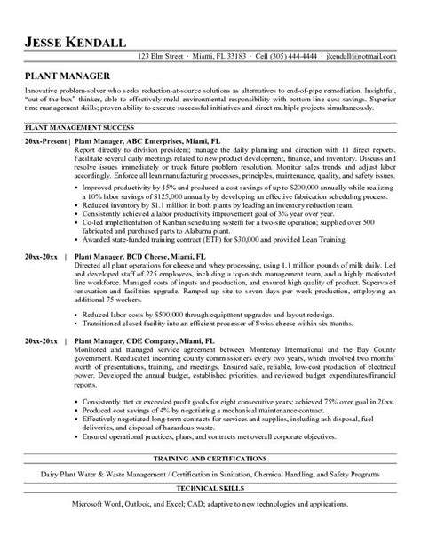 plant manager resume resume template