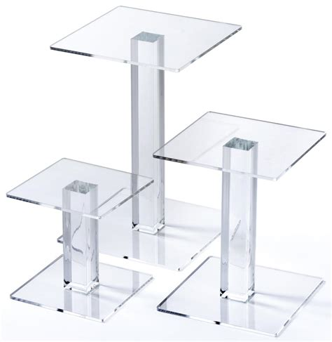 table top display risers acrylic square riser set set of 3
