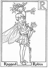 Fairy Coloring Fairies Pages Flower Print Printable Letter Boy Colouring Robin Alphabet Adults Ragged Adult Books Spring Getcolorings Coloriage Holding sketch template
