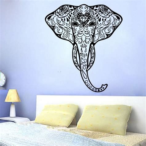 Elephant Wall Decor by Decorated Elephant Head Wall Decals Indian Elephant Wall