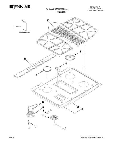 jenn air cooktop parts jenn air 30 quot slide in downdraft range cooktop parts