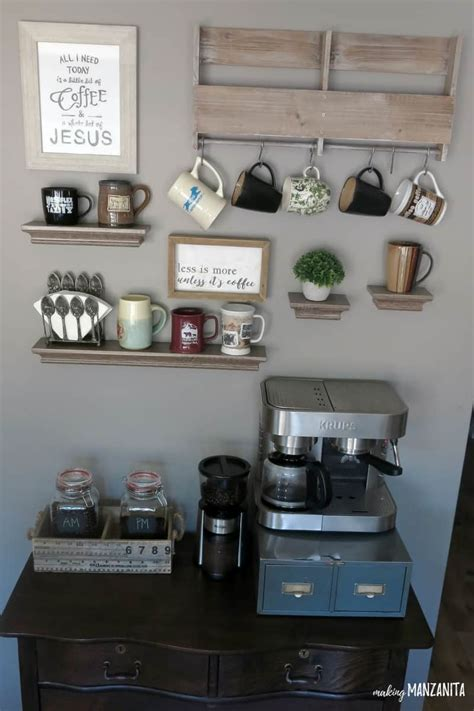 coffee station diy create bar kitchen maker making countertop sign dresser stations area wall farmhouse decorate above mugs using