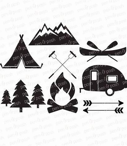 Camping Svg Clip Cricut Camper Campfire Vector
