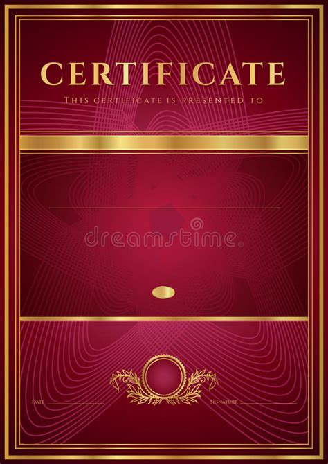 dark red certificate diploma template stock vector