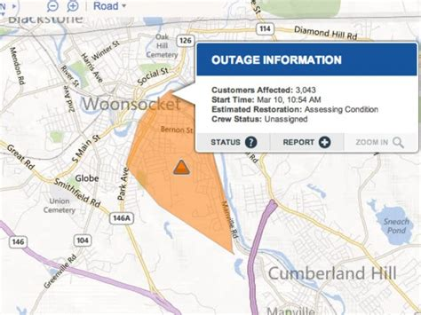 update power outage  woonsocket briefly affects