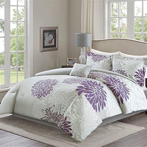 purple queen comforter sets sale comfort spaces enya comforter set 5 purple grey floral printed size