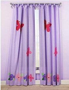 kids pink purple and lavender tab tie top floor length With purple butterfly curtains