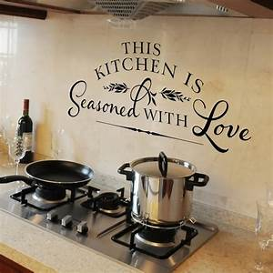 how to decorate a large kitchen wall theydesignnet With kitchen colors with white cabinets with vinyl lettering wall art hobby lobby