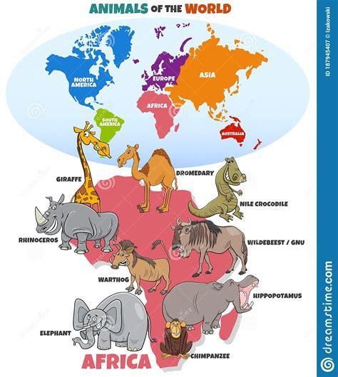 Utbildningsillustration Med Afrikanska Djur Och ...