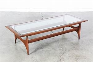 mid century sculptural coffee table w glass top by lane With mid century coffee table set