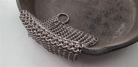 chainmail pot scrubber stainless steel hand  great  cast iron cookware