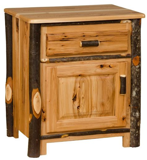 Oak Nightstand With Drawers by Rustic Hickory And Oak Nightstand One Drawer One Door
