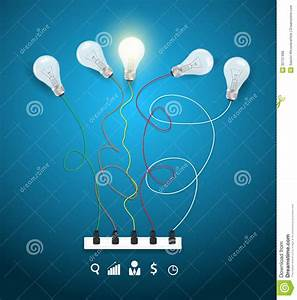 Vector Idea Concept With Light Bulbs On A Blue Bac Stock
