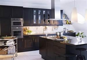 ilot central cuisine ikea en 54 idees differentes et With kitchen cabinets lowes with papier peint brique blanche