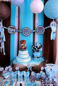 Brown & Blue Teddy Bear Theme Baby Shower Party Ideas
