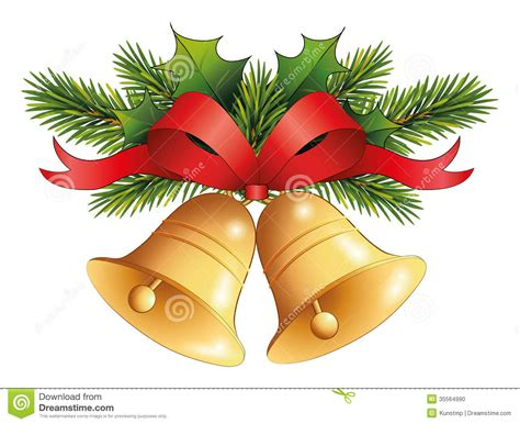 Gold Christmas Bell With Red Ribbon On Fir Decor Stock