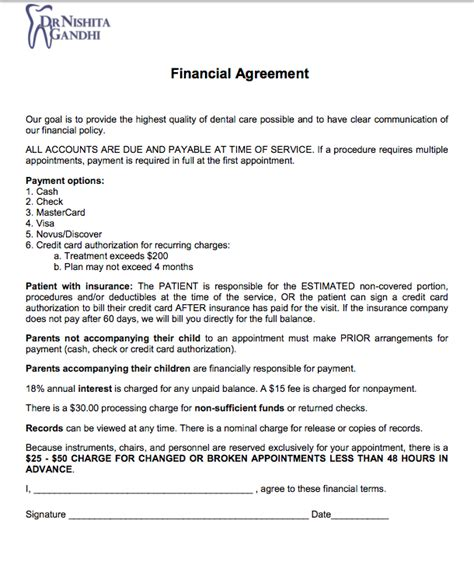 financial agreement new patient form cosmetic dentist dentist in the bronx ny in 10451 bronx dentist