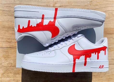 red drip nike air force   custom movement