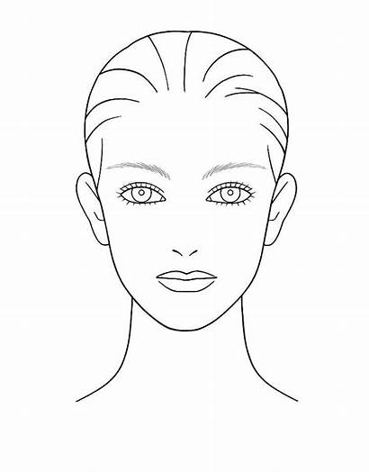 Makeup Face Blank Coloring Pages Template Chart
