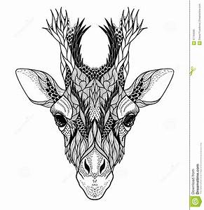 Psychedelic Giraffe Head Tattoo. Stock Vector ...