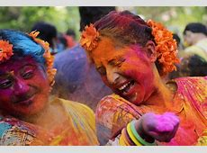 Holi in India marked with bright colours and celebration