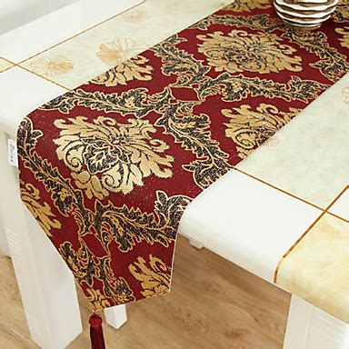red table runner with 5 led lights gold embroidery brocade table runner 685003 2016 16 79