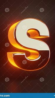 3d Letter S Uppercase. Glowing Glossy Metallic Font With ...