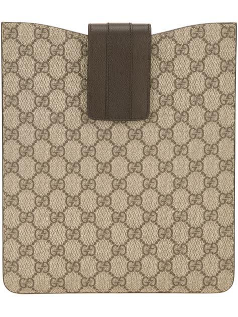 lyst gucci monogram print ipad case  brown  men