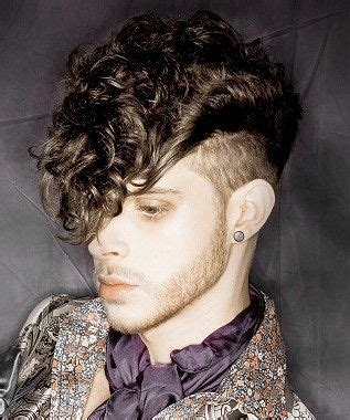 a medium brown curly quiff sides hairstyle by nhf s styles