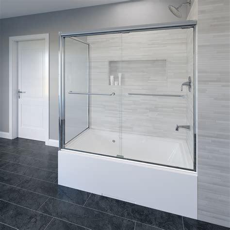 sliding glass shower doors for bathtubs infinity semi frameless 1 4 inch glass sliding basco