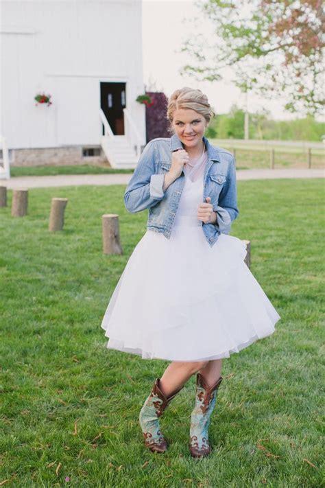 wedding dresses  denim jackets  rustic