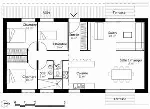 plan de maison 3 chambres plan maison plain pied 3 With plan maison 90m2 3 chambres