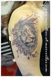 Signification Animaux Tatouage : tatouage lion fleur cochese tattoo ~ Dode.kayakingforconservation.com Idées de Décoration