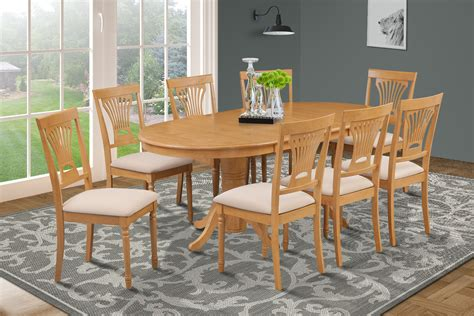 9 Piece Oval Dining Room Table Set W 8 Softpadded Chairs