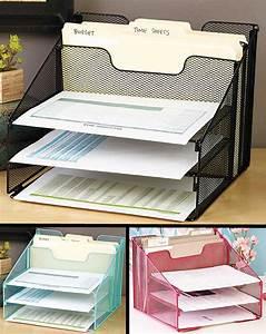 5 Compartment Desktop File Organizer In Hand Desk Paper