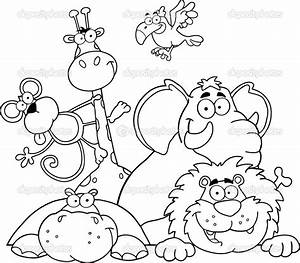 Safari Coloring Page Outlined Jungle Animals Stock Photo HitToon 7277478 Coloring Pages