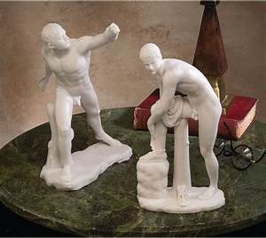Gladiator Borghese & Hermes With Sandal Statues