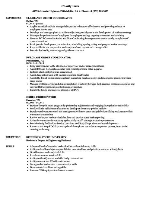 Order Processing Resume by Order Coordinator Resume Sles Velvet