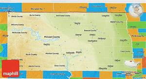Physical 3d Map Of North Dakota  Political Outside