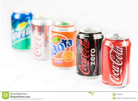 Coca Cola, Zero, Light, Sprite Drinks. Editorial Photo