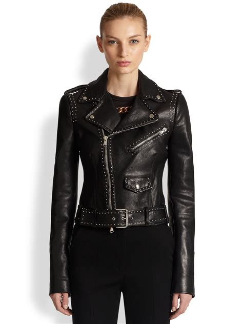 jacket moto alexander mcqueen studded leather moto jacket in black lyst