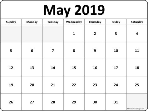 May 2019 Blank Calendar Collection