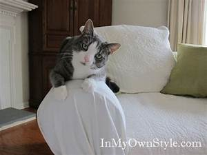 How to cover a chair or sofa with a loose fit slipcover for Sofa arm covers cat