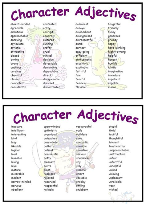 Adjectives For by Character Adjectives Vocabulary Mat